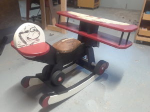 One of the Silent Auction items is this one-of-a-kind kid's rocking airplane!